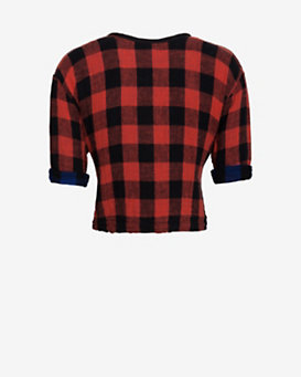 rag & bone Reversible Plaid Crop Top