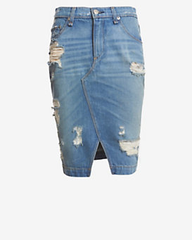 rag & bone/JEAN Shredded Denim Skirt