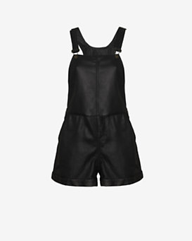 rag & bone/JEAN EXCLUSIVE Leather Short Overalls: Black