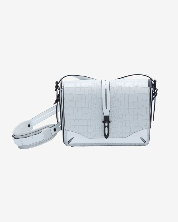 rag & bone Enfield Croc Embossed Shoulder Bag: White