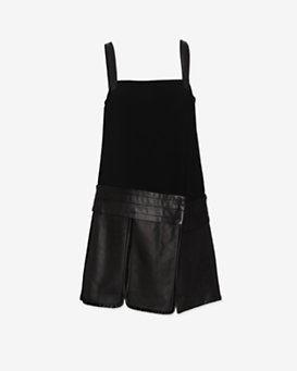 rag & bone Aimee Overall Mini Dress with Leather Skirt