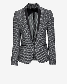 rag & bone Lorimer Leather Detail Tweed  Blazer
