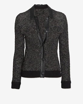 rag & bone Leather Collar Tweed Jacket