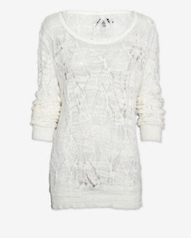 rag & bone Kaitlyn Open Weave Sweater: Cream
