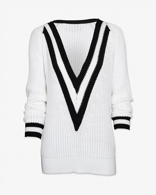 rag & bone Talia Deep V Varsity Sweater