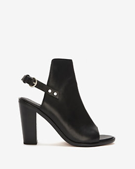 rag & bone Wyatt Leather Slingback Peep-Toe: Black