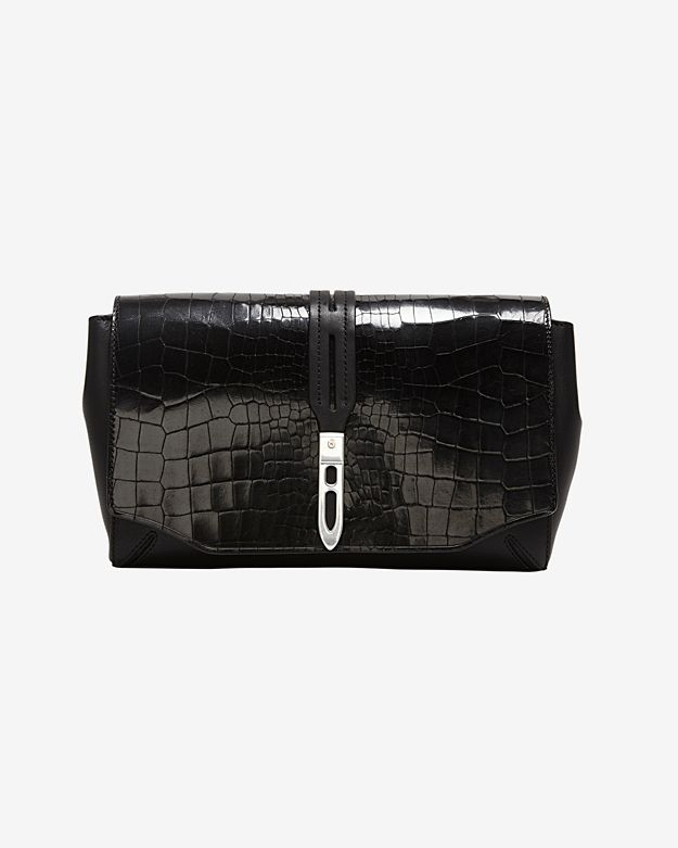 rag & bone Enfield Croc Embossed Clutch: Black