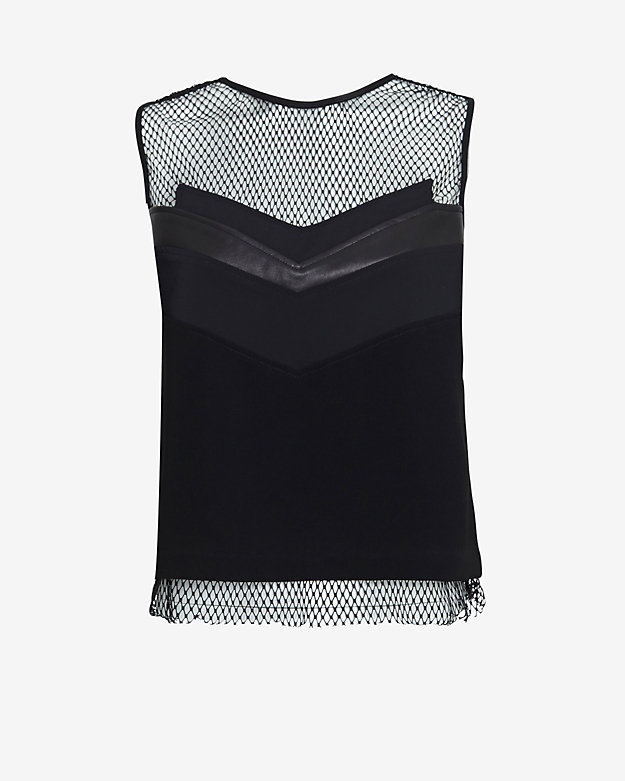 rag & bone Smith Leather/Mesh Detail Tank