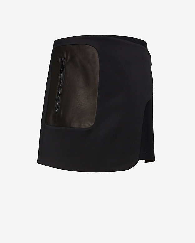 rag & bone EXCLUSIVE Raleigh Mesh/Leather Combo Zipper Wrap Skirt