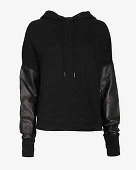 rag & bone/JEAN EXCLUSIVE Leather Sleeve Sweatshirt
