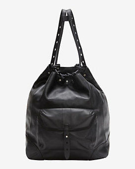 rag & bone Grayson Drawstring Leather Backpack: Black