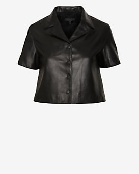rag & bone Cropped Leather Shirt