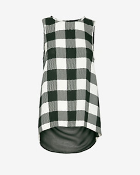 rag & bone Harper Gingham Print Sleeveless Silk Blouse