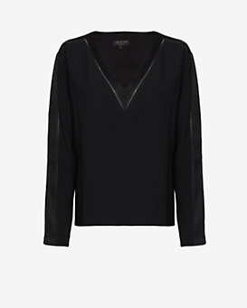 rag & bone Lydia Picot Stitch V Neck Tee