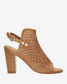 rag & bone Wyatt Perforated Leather Slingback Peep-Toe: Brown