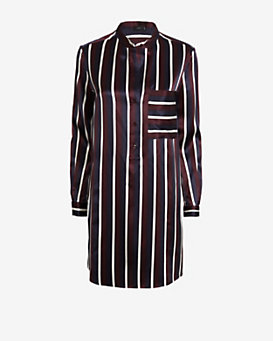 Joseph College Striped Satin Shirt Dress