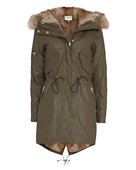 SAM Tribeca Fur Lined Coat: Army