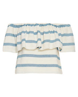 Mara Hoffman Off The Shoulder Striped Cotton Crop Top