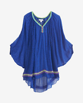 POUPETTE ST BARTH Sari Embroidery Detail Poncho Dress