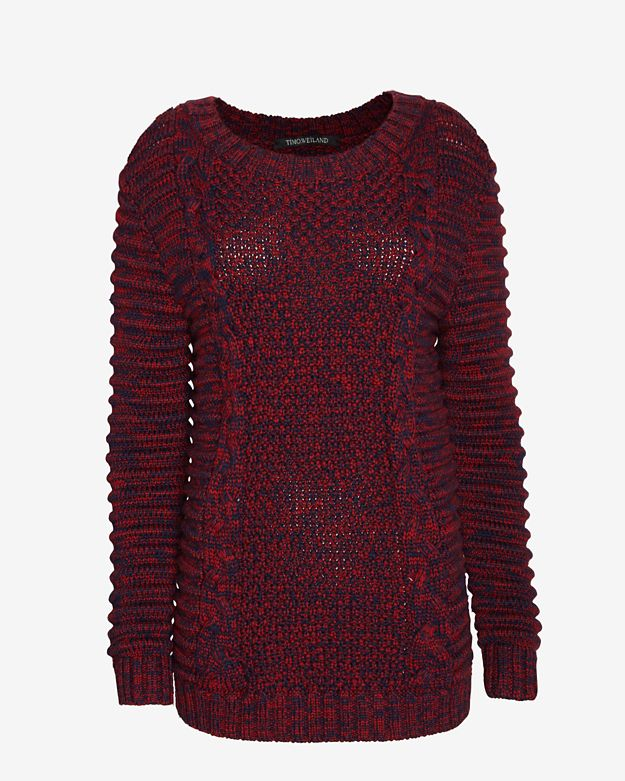 Timo Weiland Moto Sleeve Cable Knit Sweater