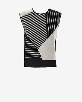 Timo Weiland Mixed Stripe Pattern Sleeveless Knit