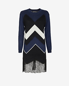 Timo Weiland Chevron Fringe Sweater Dress