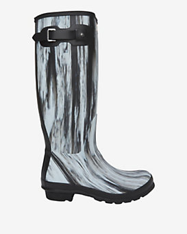 Hunter Original Rubber Rainboots: Black/White