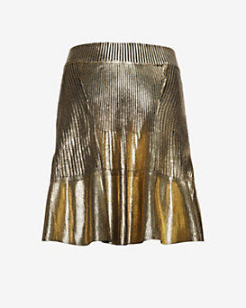 Ohne Titel Metallic Foil Knit Pleated Mini Skirt