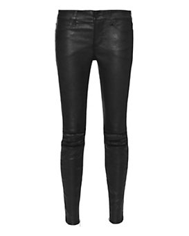 RtA Exploded Knee Rip Leather Skinny: Black
