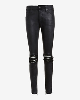 RtA Denim Knee Rip Leather Skinny: Black