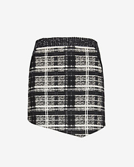Marissa Webb EXCLUSIVE Leather Detail Plaid/Tweed Skirt