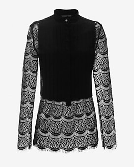 Marissa Webb EXCLUSIVE Amit Lace Detail Blouse