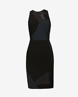 Yigal Azrouel Mesh Combo Dress: Black/Green