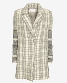 Yigal Azrouel Sweater Sleeve Plaid Coat