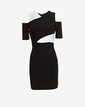 Yigal Azrouel EXCLUSIVE Cut out Shoulder Colorblock Dress