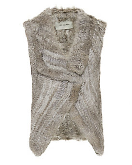Yves Salomon EXCLUSIVE Knitted Rabbit Fur Vest: Grey
