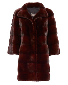 Yves Salomon EXCLUSIVE High Collar Mink Fur Coat: Burgundy