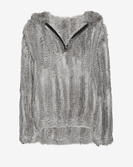 Yves Salomon EXCLUSIVE Knitted Rabbit Fur Zip Up: Grey