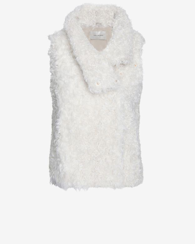 Yves Salomon Curly Lamb Fur Vest: White