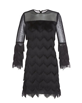 Alexis Fringe Mesh Detail Dress: Black