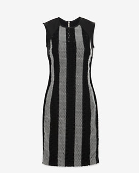 Yigal Azrouel Colorblock Eyelet Moto Dress