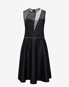 Yigal Azrouel Eyelet/Leather Flare Moto Dress