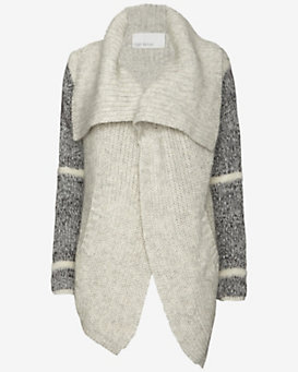 Yigal Azrouel Mixed Knit Asymmetric Cardi