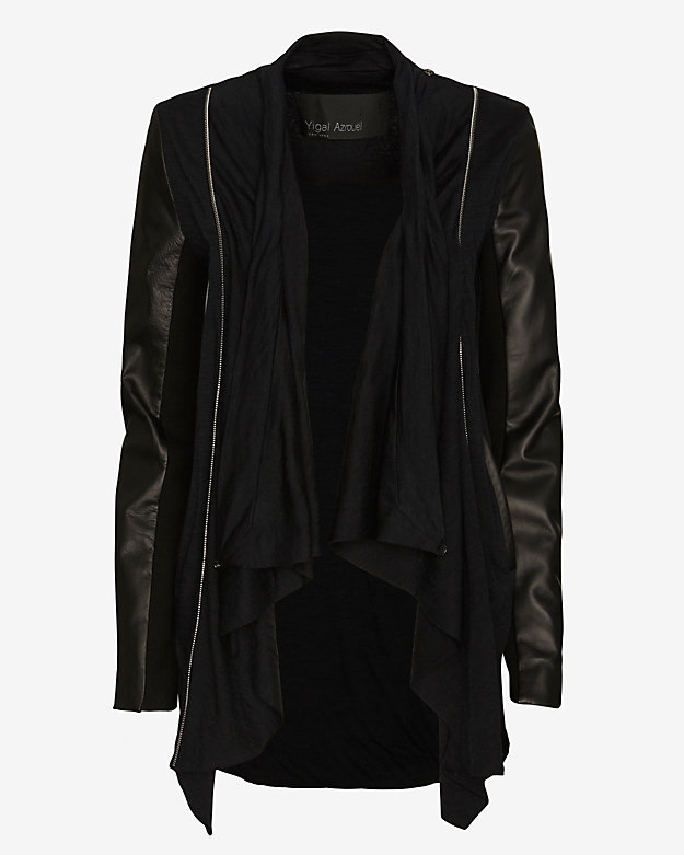 Yigal Azrouel Leather Sleeve Jersey Cardigan