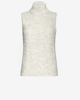 Yigal Azrouel Georgette Back Sleeveless Knit Turtleneck
