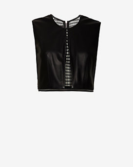 Yigal Azrouel EXCLUSIVE Leather/Velvet Mesh Crop Top