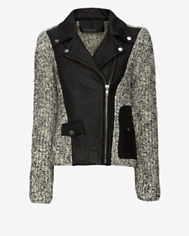 Yigal Azrouel Platinum Knit/Leather Moto Jacket