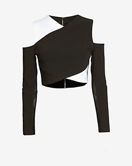 Yigal Azrouel Cold Shoulder Cross Front Top