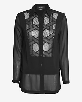 Yigal Azrouel Lace Tux Silk Blouse