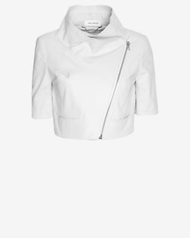 Yigal Azrouel Short Sleeve Crop Leather Jacket